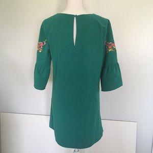 Altar'd State Dresses - Altar'd State Teal Bell Sleeve Embroidered Dress